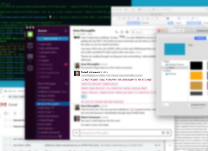 A blurred image of a computer desktop shows the author's name in a slack chat with the title of the article.
